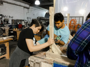 High School Students building with wood at 757 MakerSpace