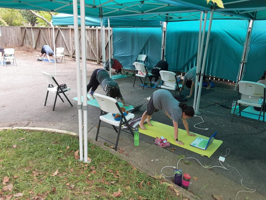 Roadstead High School Students Yoga in outdoor classroom during COVID opening