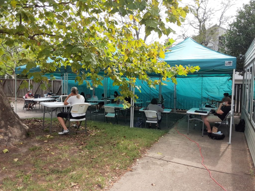 Roadstead High School outdoor classroom in the shade during COVID