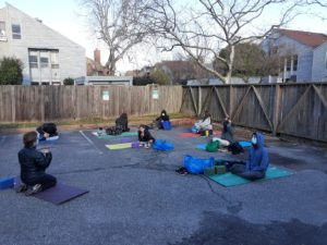 Roadstead students take yoga class in the outdoor classroom during COVID-19